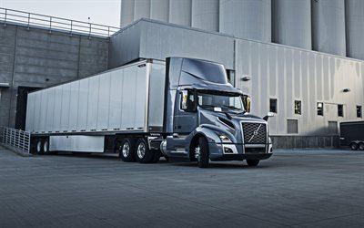 Volvo VNL, 2019, Swedish truck, new gray VNL, trucking concepts, cargo delivery, loading cargo, VNL300, Volvo