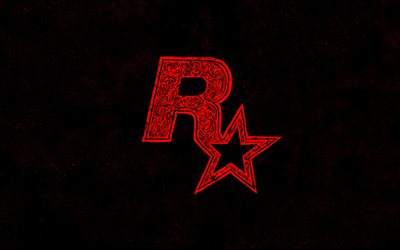 Rockstar, creative red logo, emblem with ornaments, black background