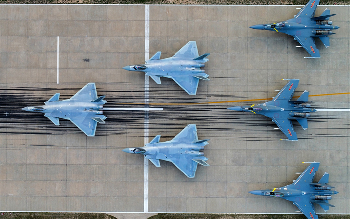 Shenyang J-16, Chinese fighter, Chinese Air Force, aerial view, runway, Peoples Liberation Army Air Force