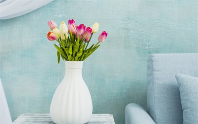 bouquet of tulips, beautiful spring flowers, tulips in a white vase, flowers in the interior