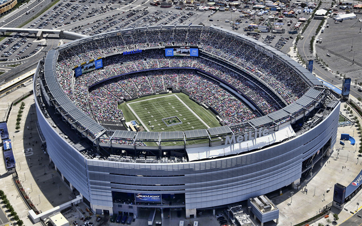 MetLife Stadium, flygfoto, NFL, New York Giants stadium, New York Jets-stadion, fotboll, amerikansk football stadium, USA, New Jersey, amerikanska arenorna