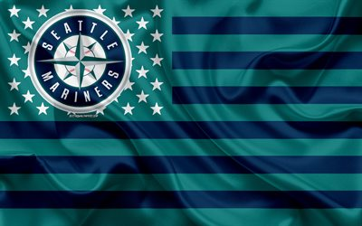 Seattle Mariners, American baseball club, American creative flag, turquoise blue flag, MLB, Seattle, Washington, USA, logo, emblem, Major League Baseball, silk flag, baseball