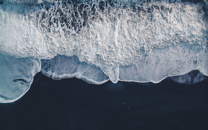 ocean coast, black sand, aerial view, waves, ocean waves