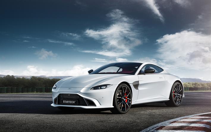 Aston Martin Vantage, 2019, Startech, white sports coupe, car, new white Vantage, tuning Vantage, British sports cars, Aston Martin