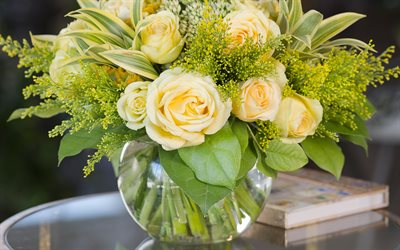 bouquet of yellow roses, yellow roses, glass vase, roses, yellow flowers
