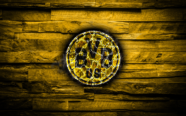Borussia Dortmund FC, fiery logo, BVB, Bundesliga, yellow wooden background, german football club, grunge, Borussia Dortmund, football, soccer, Borussia Dortmund logo, fire texture, Germany