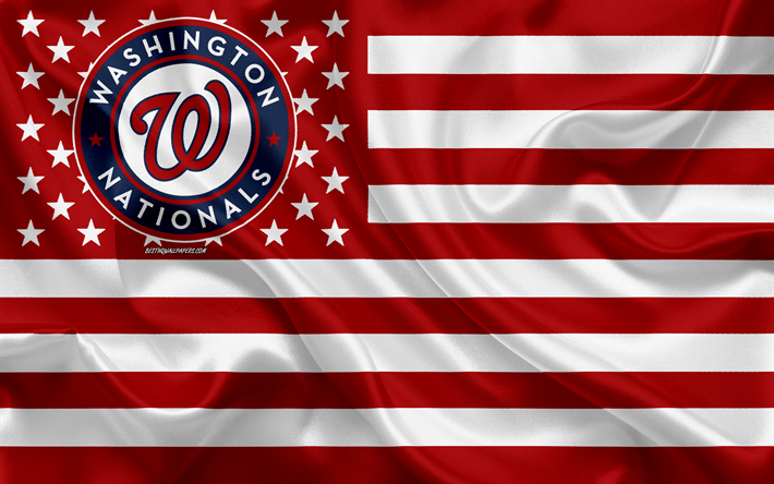 Washington nationals, le baseball Américain club, American creative drapeau rouge drapeau blanc, MLB, Washington, états-unis, le logo, l'emblème, la Ligue Majeure de Baseball, drapeau de soie, de baseball