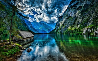 Konigssee, HDR, lake, summer, Alps, mountains, Berchtesgaden, Germany, Europe, Lake Koenigssee