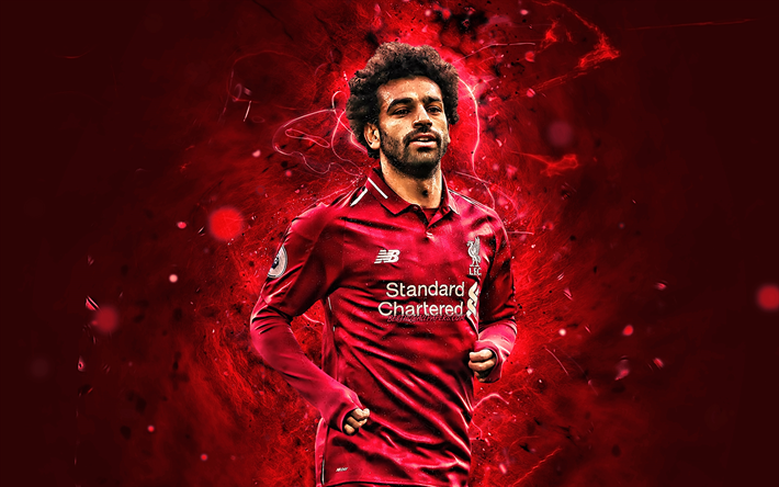 Mohamed Salah, LFC, close-up, egyptian footballers, Liverpool FC, England, fan art, Salah, Premier League, creative, Mo Salah, soccer, neon lights, Salah Liverpool