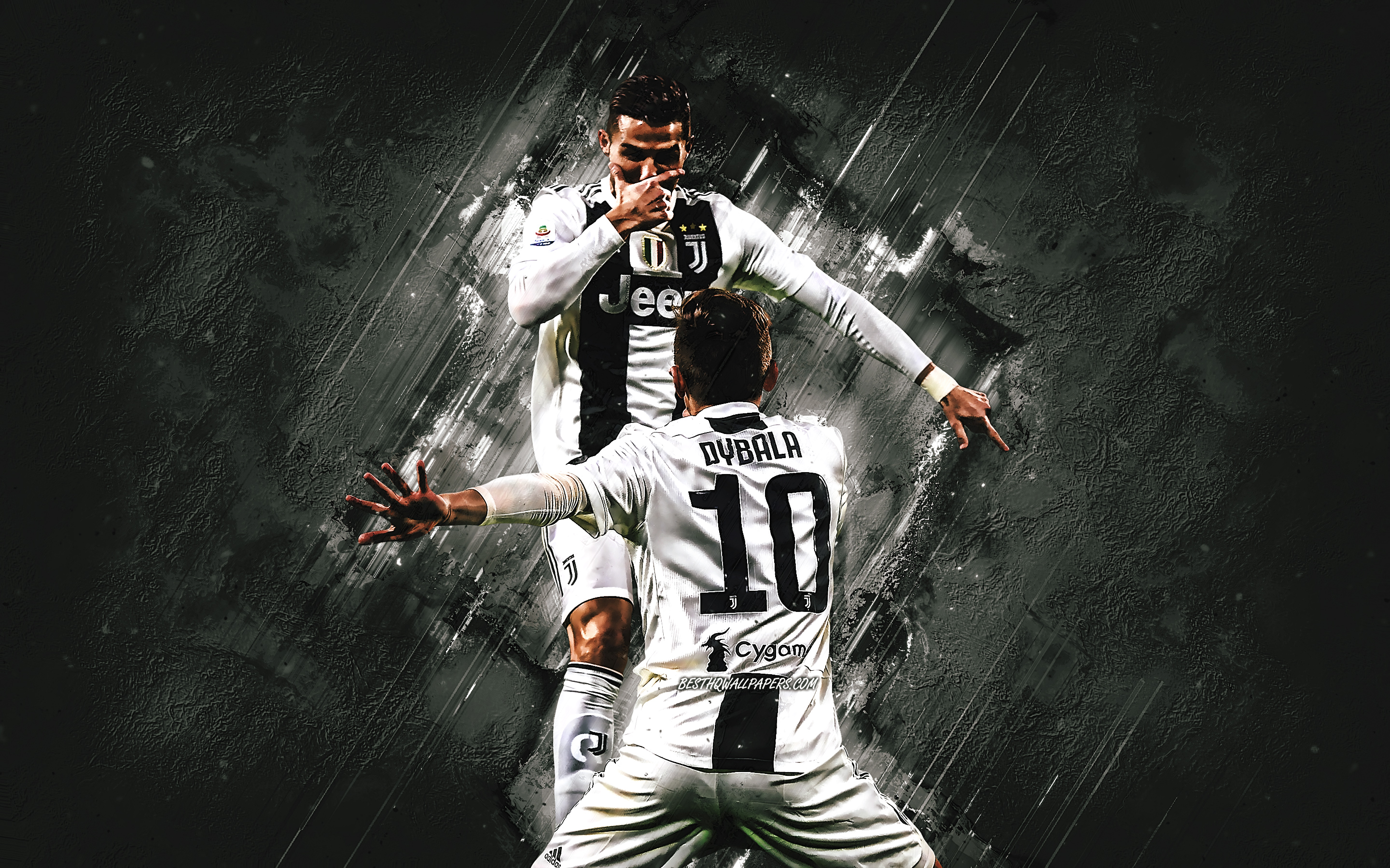 Cristiano Ronaldo, Paulo Dybala, Juventus FC, goal celebration, Italian football club, world football stars, famous football players, CR7, Serie A, Italy, football