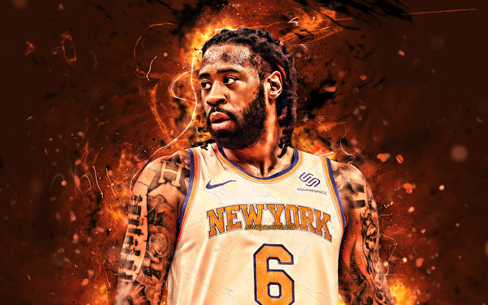 DeAndre Jordan, close-up, basketball stars, New York Knicks, NBA, abstract art, Hyland DeAndre Jordan Jr, neon lights, basketball, USA, DeAndre Jordan Knicks