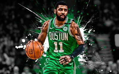 Kyrie Irving, Amerikkalainen koripalloilija, Boston Celtics, puolustaja, vihreä valkoinen maali roiskeet, muotokuva, creative art, NBA, USA, koripallo, National Basketball Association, grunge