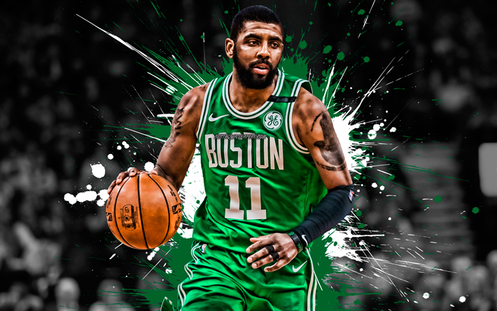 Kyrie Irving, American basketball player, Boston Celtics, defender, green white paint splashes, portrait, creative art, NBA, USA, basketball, National Basketball Association, grunge