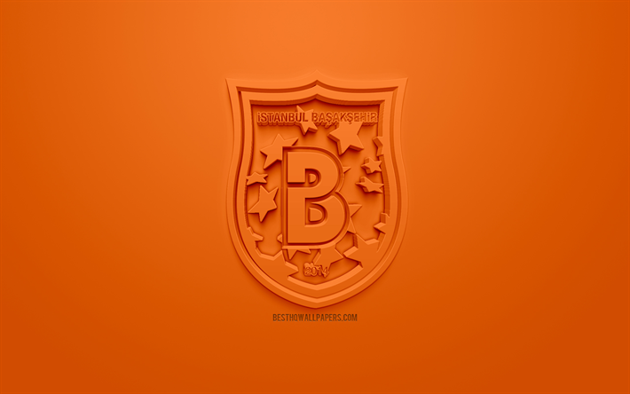 Istanbul Basaksehir, creative 3D logo, orange background, 3d emblem, Turkish football club, SuperLig, Istanbul, Turkey, Turkish Super League, 3d art, football, 3d logo, Basaksehir