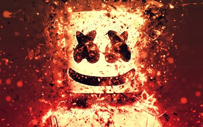 4k, DJ Marshmello, creative, Christopher Comstock, american DJ, Marshmello 4k, orange multicolored neon, Marshmello DJ, superstars, fan art, Marshmello, DJs