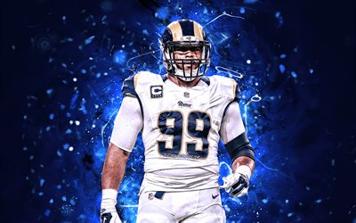 Aaron Donald, defensive tackle, Los Angeles Rams, american football, NFL, LA Rams, Aaron Charles Donald, National Football League, neon lights, creative