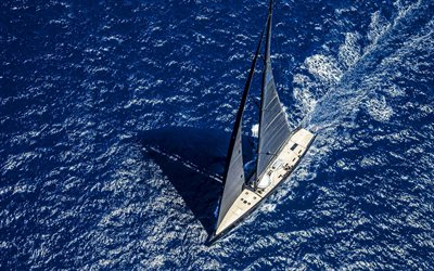 Wally, BLACK SAILS Yacht, sea, view from above, yachts, black sails