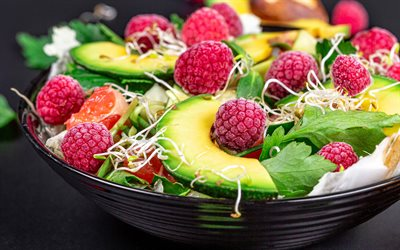 fruit and vegetable salad, healthy food, salad with avocado and raspberry, diet concepts, salads