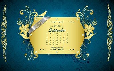 Download Wallpapers 2020 September Calendar Vintage Blue Background 2020 Osen Calendars Retro Art Golden Ornaments September 2020 Calendar Spring September For Desktop Free Pictures For Desktop Free