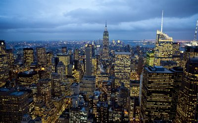 New York, evening, Empire State Building, NYC, skyscrapers, New York cityscape, New York architecture, USA