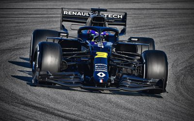 Daniel Ricciardo, Renault RS20 on track, 4k, raceway, 2020 F1 cars, Formula 1, Renault DP World F1 Team, F1, Renault F1 Team 2020, F1 cars, Renault RS20, new RS20