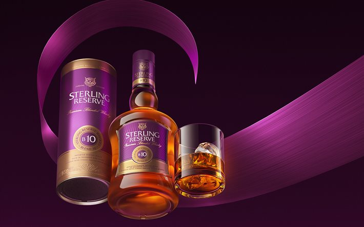 Sterling Reserve Blend 10, whiskey, purple background, different drinks, Scottish whiskey, Sterling Reserve