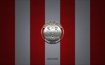 Stade de Reims logo, French football club, metal emblem, red and white metal mesh background, Stade de Reims, Ligue 1, Reims, France, football
