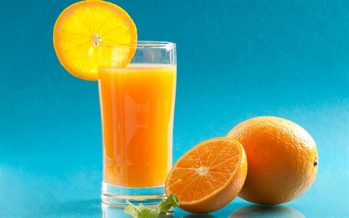 orange juice, citruses, oranges, glass with juice, fruit juice, mint, juice