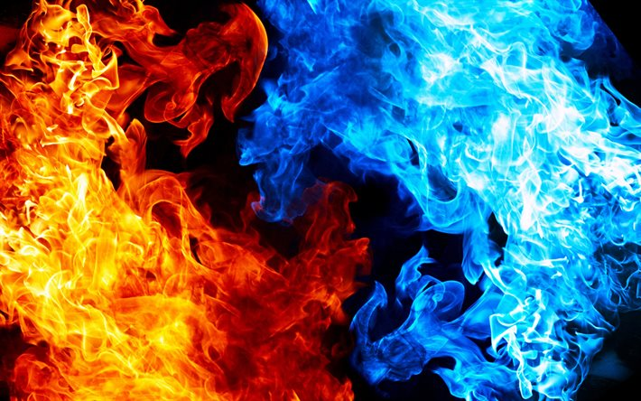 blue and orange fire, macro, creative, fire flames, fire textures, artwork