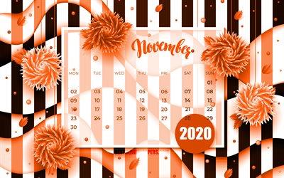 thumb november 2020 calendar 4k orange 3d flowers 2020 calendar autumn calendars