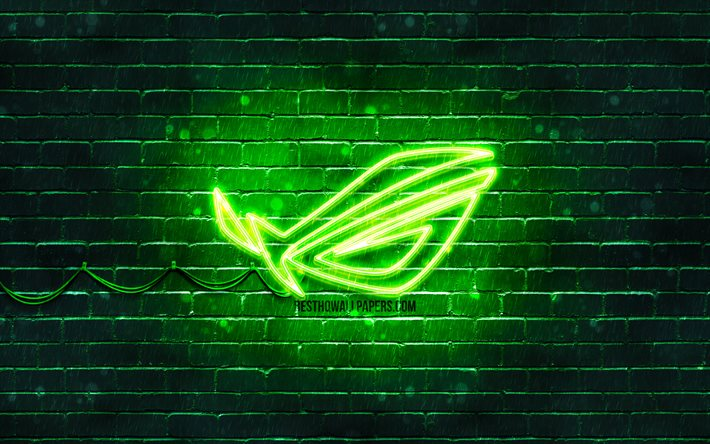 Download Wallpapers Rog Green Logo 4k Green Brickwall Republic Of Gamers Rog Logo Brands Rog Neon Logo Rog For Desktop Free Pictures For Desktop Free
