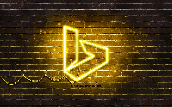 Bing yellow logo, 4k, yellow brickwall, Bing logo, brands, Bing neon logo, Bing