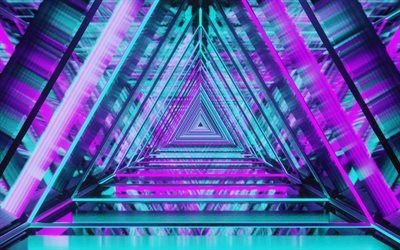 triangles, abstract art, creative, tunnel, colorful backgrounds, artwork, background with triangles