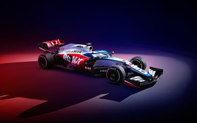Williams FW43, 4k, side view, 2020 F1 cars, studio, Formula 1, Williams Mercedes FW43, F1, Williams 2020, F1 cars, ROKiT Williams Racing, new FW43