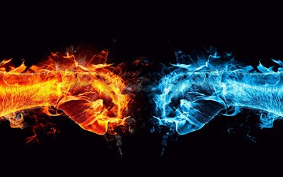 fire vs water, battle, 3D art, creative, fire flames, water, black backgrounds, two hands