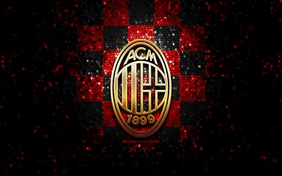 Milan FC, glitter logo, Serie A, red black checkered background, soccer, AC Milan, italian football club, AC Milan logo, mosaic art, football, Italy