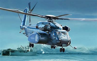 Sikorsky CH-53 Sea Stallion, military heavy transport helicopter, CH-53, painted helicopters, US Navy, American helicopters, Sikorsky