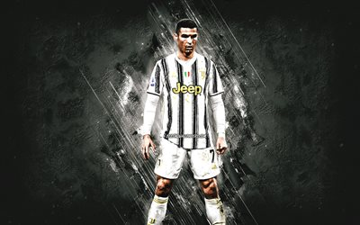 Cristiano Ronaldo, CR7, portrait, Portuguese footballer, Juventus FC, world football star, gray stone background, football