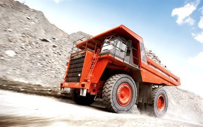 Hitachi EH1700, camion, movimento, rock camion da cava, cassone ribaltabile