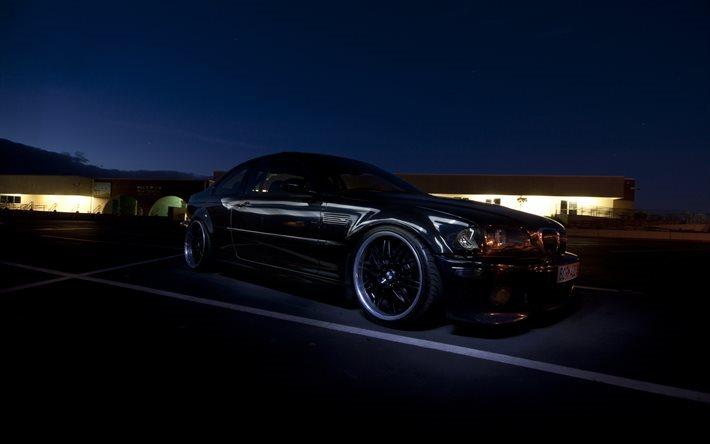 Download Wallpapers Bmw M3 Night E46 Tuning German Cars Black
