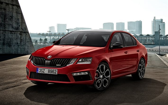 Skoda Octavia RS 245, 2018, Red wagon, red Octavia A5, new cars, Skoda