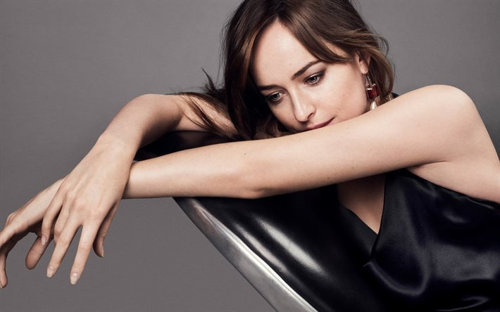 Dakota Johnson, American actress, black dress, portrait