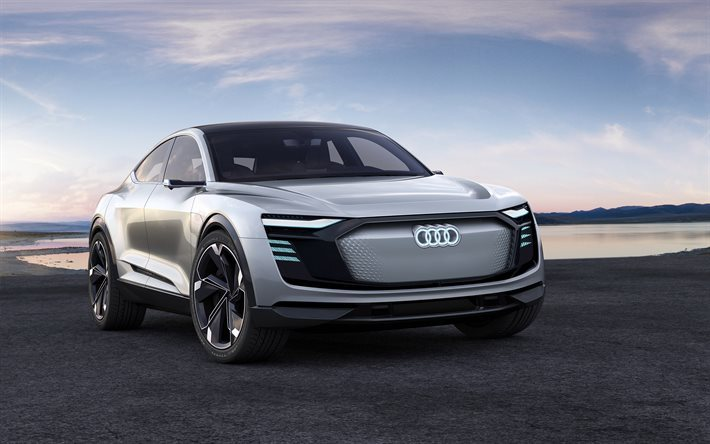 Audi e-tron Sportback, Concept, 2017, Front view, new cars, electric car, crossover, Audi