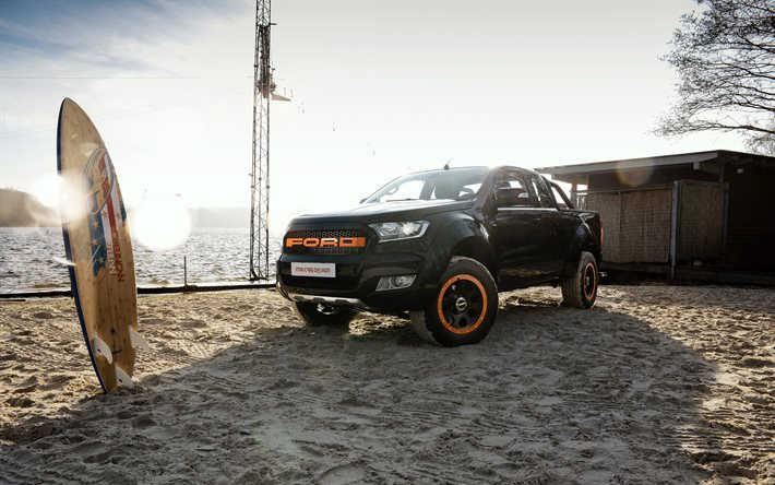 MR Car Design, tuning, Ford Ranger, 2017 cars, SUVs, offroad, black Ranger