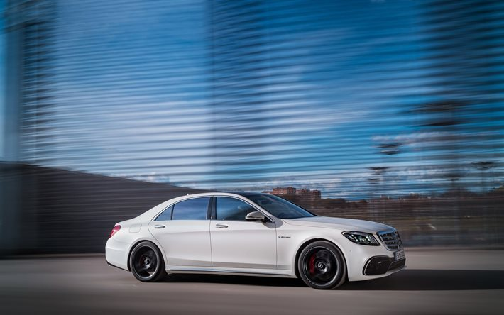 Download wallpapers mercedes benz s63 amg 2018 white for White mercedes benz 2017