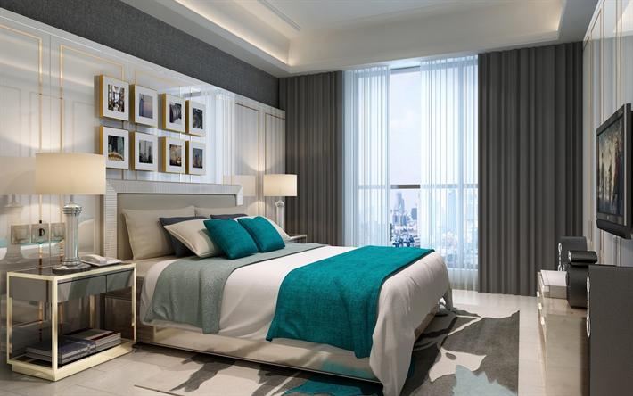 Scarica sfondi moderna camera da letto, interno, design ...