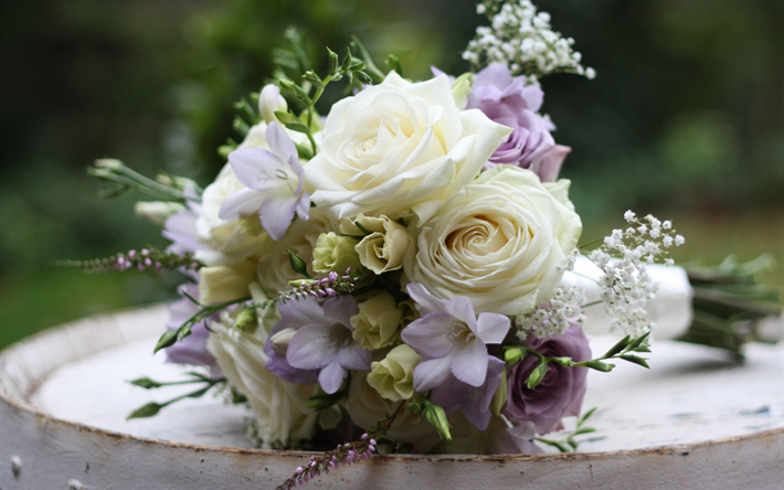 Download wallpapers white roses, wedding bouquet, beautiful flowers ...