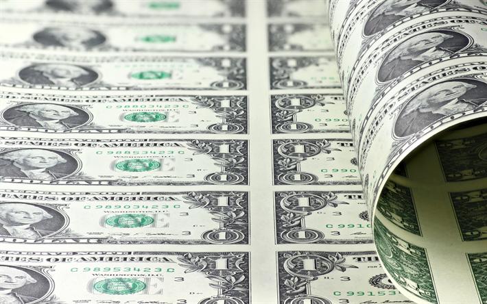 American dollars, money printing, banknotes, 1 dollar, money concepts, finance