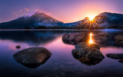 mountain landscape, sunset, evening, mountain lake, silence, stones in the water