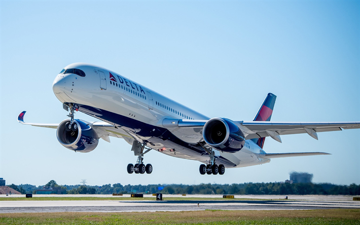 Delta Air Lines Wallpaper: Download Wallpapers Airbus A350-900, 4k, Passenger Plane